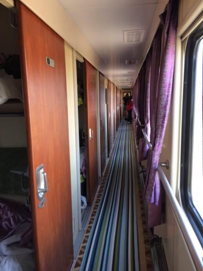 New Chinese sleeper from UB to Beijing - 2nd class corridor.