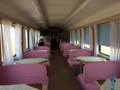 New Chinese sleeper from UB to Beijing - dining car.